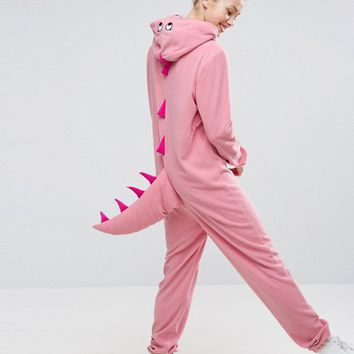 ASOS Dinosaur Onesuit In Fleece at asos.com