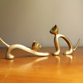 Vintage Brass Cat Figurines, Modern Cat Statues, Brass Animal Collectible, Gold Cats