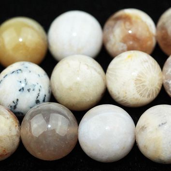 """Dendritic Fossil Ocean Agate Rounds 16"""""""