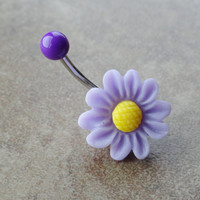 Lavender Lilac Purple Flower Belly Button Ring Jewelry