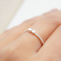 925 Sterling Silver tiny bowtie ring,silver cute bowtie ring