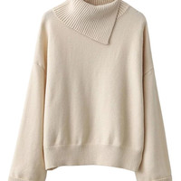 Beige Split Neck Long Sleeve Knit Sweater