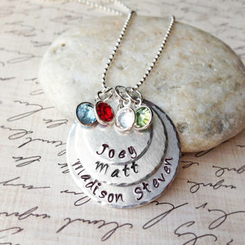 Handstamped Personalized Circle Pendants with a Sterling Silver Necklace and Four Swarovski Crystal Birthstones, Children names, Handmade