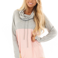Heather Grey and Peach Color Block Long Sleeve Hoodie