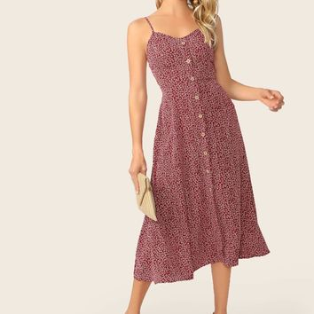 Pocket Side Button Up Ditsy Floral Sundress
