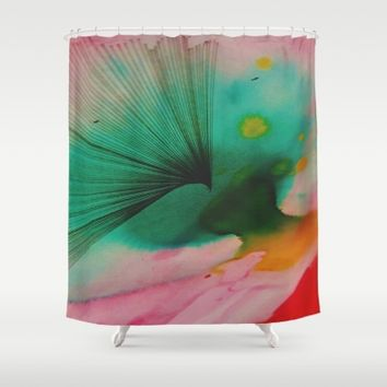 Watercolors and Ink Shower Curtain by Ducky B