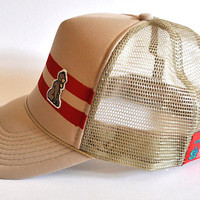 Bootlegger Trucker Cap (red on khaki)