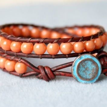 Salmon Coral Pearl Bohemian beaded leather wrap bracelet, double, cottage boho chic, Chan Luu style, trendy jewelry, blue patina