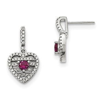 Sterling Silver Synthetic Ruby & CZ Brilliant Embers Heart Earrings QMP1411