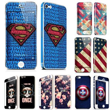 Beautiful Glossy Screen Protector for iPhone 5 5S 6 6s 7 8 Plus Tempered Glass Film front back 2 Pack Superman Mickey US Flag