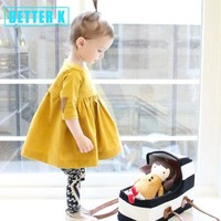 Better Girls Dress 2017 New Spring Summer Girls Clothes Yellow Applique Princess Dress Children Summer Clothes Baby Girls Dress