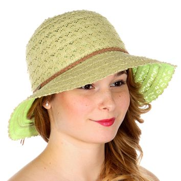Solid Floral Crochet Sun Hat With String Band
