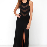 Never Mesh a Beat Black Maxi Dress
