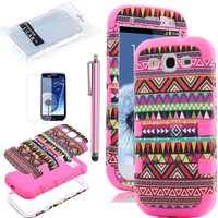 Pandamimi ULAK 3in1 Hybrid High Impact Pink Hard cover Aztec Tribal Pattern(Samsung Galaxy S3 III i9300, At&T, Verizon, and Sprint) + Pink Silicon Case For Samsung Galaxy S3 I9300 4G Android Phone + Screen Protector + Pink Stylus