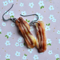 Bacon Polymer Clay Miniature Food Earrings, Hook Earrings, Dangle Earrings