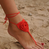 Red Rose Crochet Lace Up Barefoot Sandals