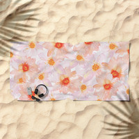 orange and pink watercolor dahlias Beach Towel by Sylvia Cook Photography