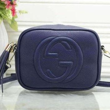 """Gucci"" Trending Women All-match Letter Logo Embossed Single Shoulder Messenger Bag Solid Color Tassel Zip Small Square Bag Blue G"