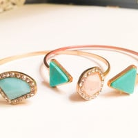 Gold Turquoise Granite Bracelet Set