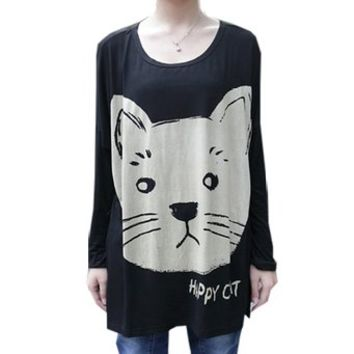 Fashion Women Korean Batwing Sleeve Cat Print Stretchy Loose Shirt Plus Size Tee, One Size, Black