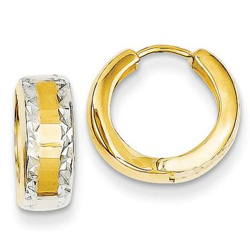 14k Yellow Gold and Rhodium Hinged Hoop Earrings, 12mm (7/16 Inch)