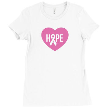 Hope. Breast Cancer Awareness Ladies Fitted T-Shirt