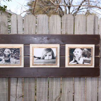 Handmade distressed plank picture frame with double wooden mats for 3 5x7 or 4x6 photos; Brown, ivory, and gold;