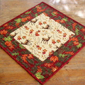 Fall Table Topper, Quilted Table Topper, Deer Candle Mat, Red Off White Table Topper, Autumn Leaves, Fall Table Decor, Rustic Cabin Decor