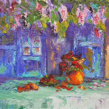 "Original Oil painting, Impressionist Provence Landscape, Shady Place Palette Knife Oil painting -  ca. 7x10"" small format art"