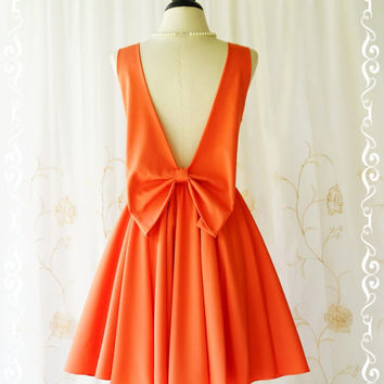 A Party Angel Dress Fresh Tangerine Party Dress Backless Prom Dress Bow Back Cocktail Dress Orange Wedding Bridesmaid Dresses XS-XL