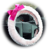 Cute baby pink fluffy furry car steering wheel cover with hot pink satin bow