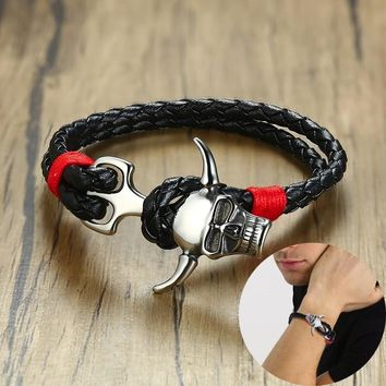 Men's Stainless Steel Gothic Horned Devil Clasp Black Braided Leather Bracelet Male Punk Biker Jewelry Mens Accessories