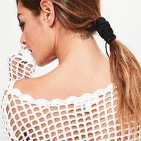 Missguided - Black Pony Tail Hair Wrap