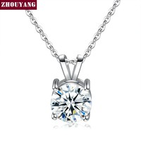 Classic Four Claws 8mm Stellux Pendant Necklace Silver Color Party Engagement Jewelry For Women Christmas Gift ZYN613