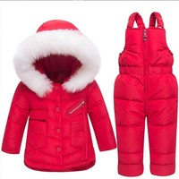 Warm Cotton Toddler Snowsuit Zipper Outfits With Hooded Kids Girl Boy Winter Clothes Boutique Baby Coat 90%white Duck Down