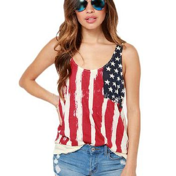 King Ma Women Sleeveless American Flag Tank Vest Tank Tops