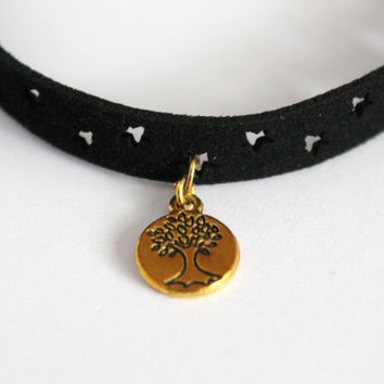 Gold tree of life choker necklace, leather choker necklace, tree of life necklace, nature choker necklace, tree choker necklace