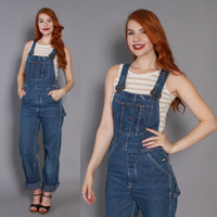 70s Fitted DENIM OVERALLS / 1970s Dark Blue Big Mac Jeans Jumpsuit