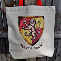 Brave and Daring Tote Bag.  Gryffindor House Fandom Bag. Cotton Canvas Bag.