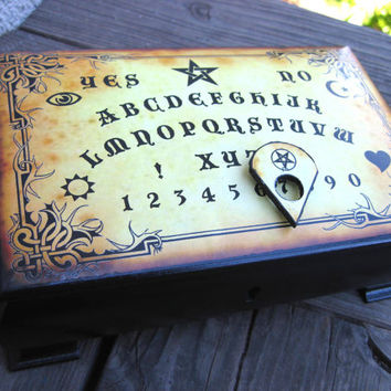 Ouija board jewelry box, repurposed vintage jewelry box, occult themed box, unique goth gift, ouija treasure chest, ouija with planchette