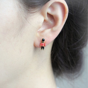 Toy Soldier Earrings / choose your color- Peach,Red and White
