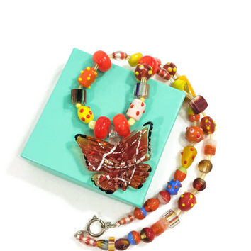 Murano Lampwork Necklace, Butterfly Necklace, Orange Yellow & Blue Beads, Chunky Beads, Summer Jewelry, Statement Jewelry. Vintage