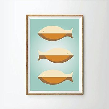Fishes Poster, Mid Century modern, (unframed) mid century art style, Art print, retro Print Poster, Geometric Art Print, scandinavian, scandinavian art, modern art, contemporary art
