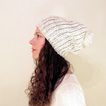 Chunky Knit Hat, Pom Pom Hat - Chunky Slouchy Hat Chunky Knitted Hat Knit Pom Hat Chunky Slouchy Beanie White Cream THE COOPER Ready to Ship