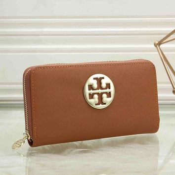 Tory Burch Fashionable Women Leather Zipper Purse Wallet Brown
