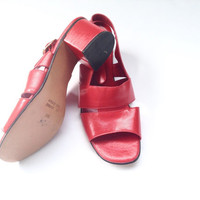 Vintage Italian sandals. Retro red leather sandals