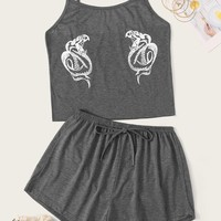 Dragon Print Cami Pajama Set