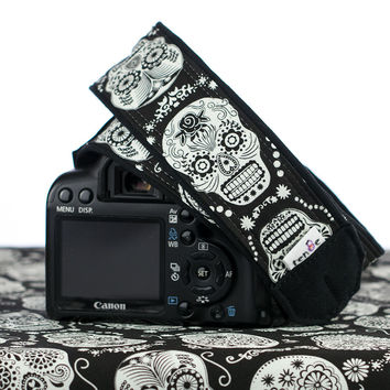 237 Camera Strap Sugar Skulls, Dia de los Muertos, Glow in the Dark