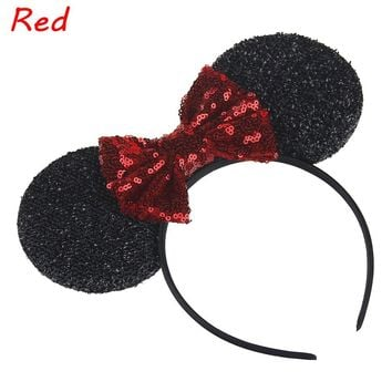 1 PC Fashion Headbands Mouse Ears Hair Hoop Bowknot Headwear Lovely Girls Hair band 2017 New hair accessories
