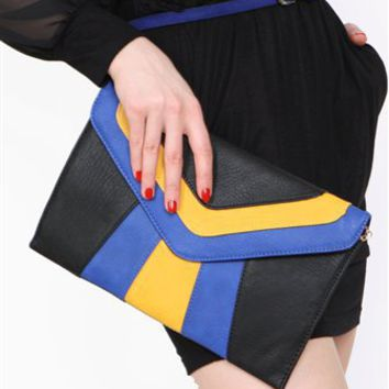 Midnight in Paris Clutch- Color Block Clutches- $47